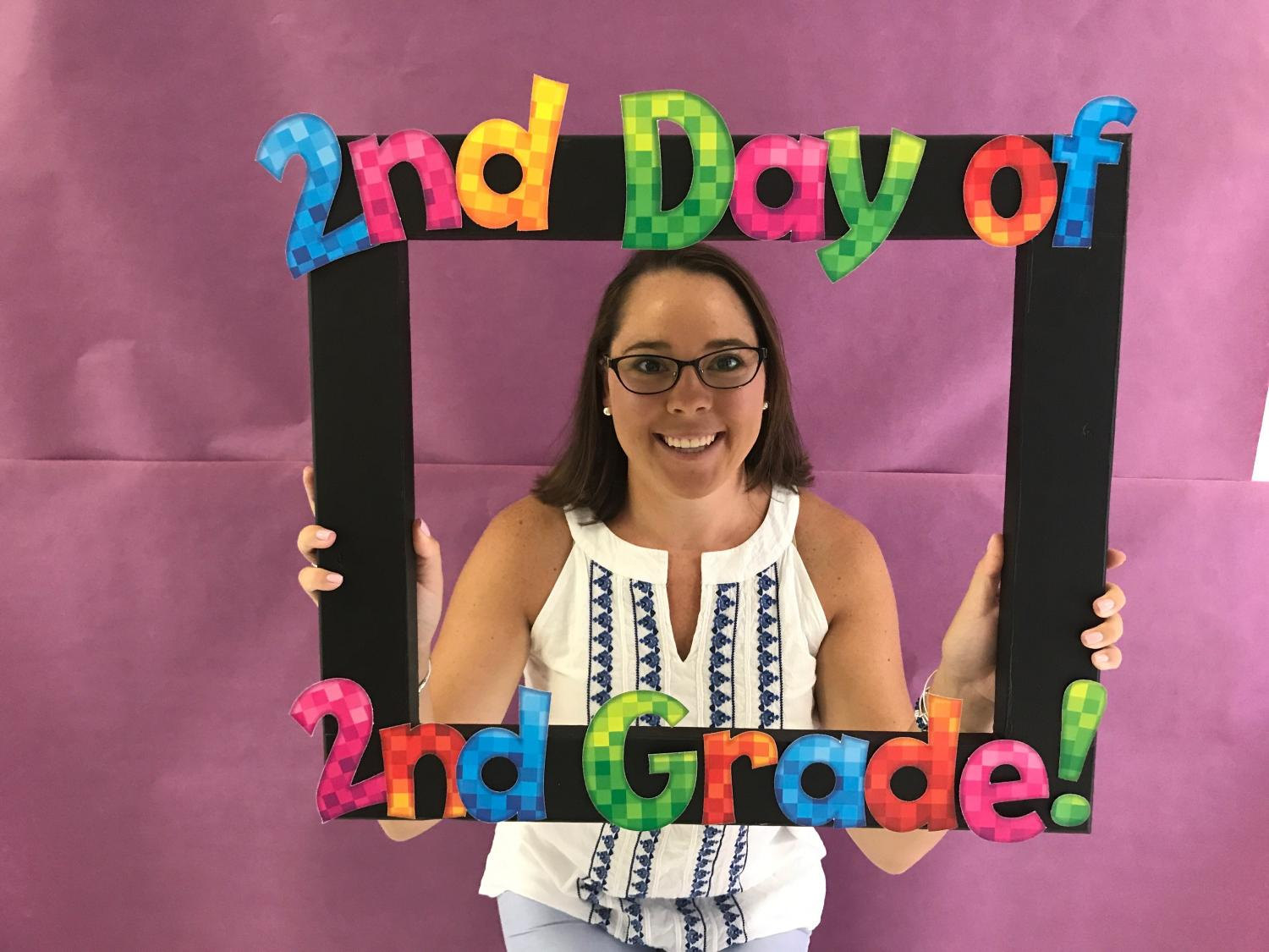 Grade 2 Teacher Jessica Reusch on the second day of school