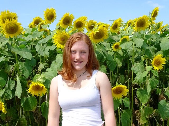 Karoline at the Colby Farm sunflower field