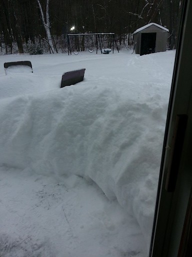 Snow pile-up after a large snow storm.