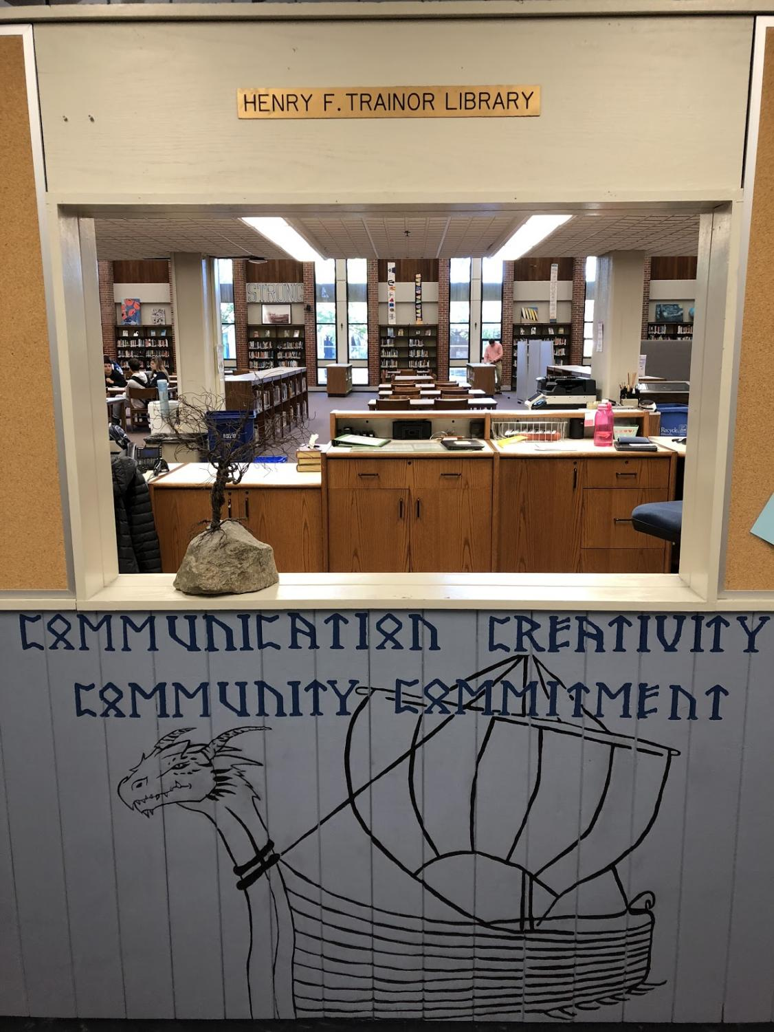 The entrance to Triton High School's Library.
