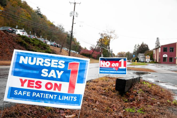 Signs were put on the sides of many roads in Massachusetts to convince people to vote.