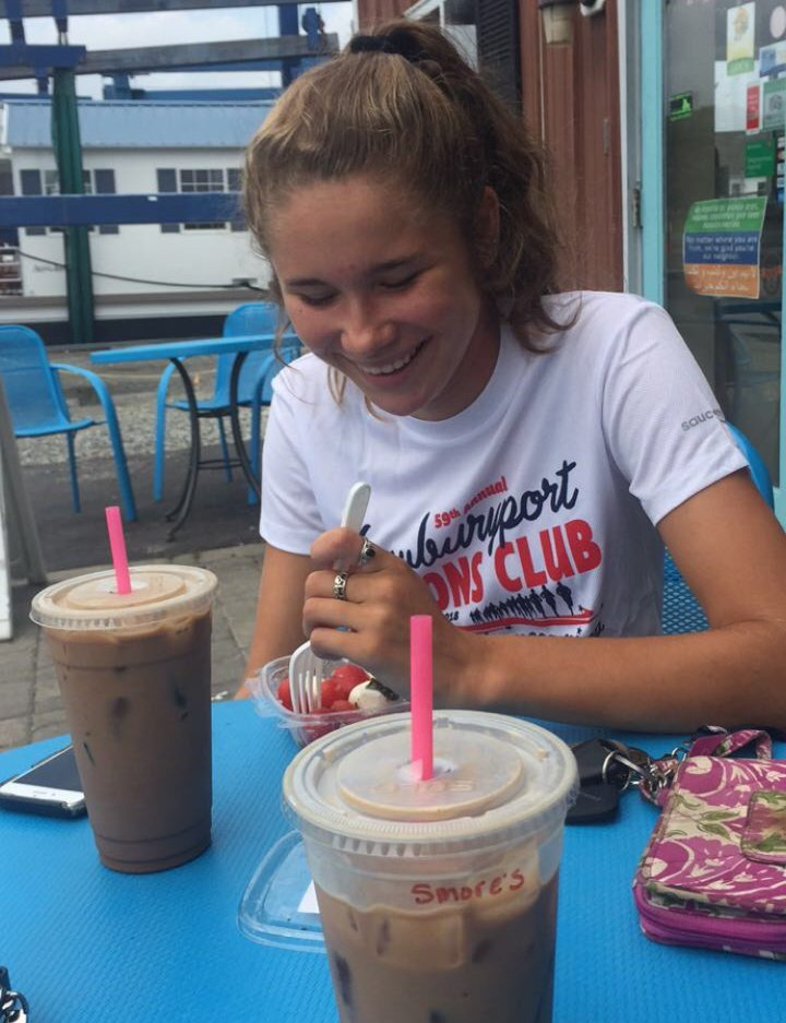 Junior Samantha Protopapas enjoying a coffee at Plum Island Coffee Roasters in Newburyport with a friend.