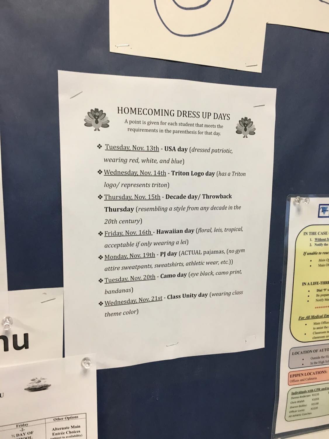A list of the dress-up days for Homecoming