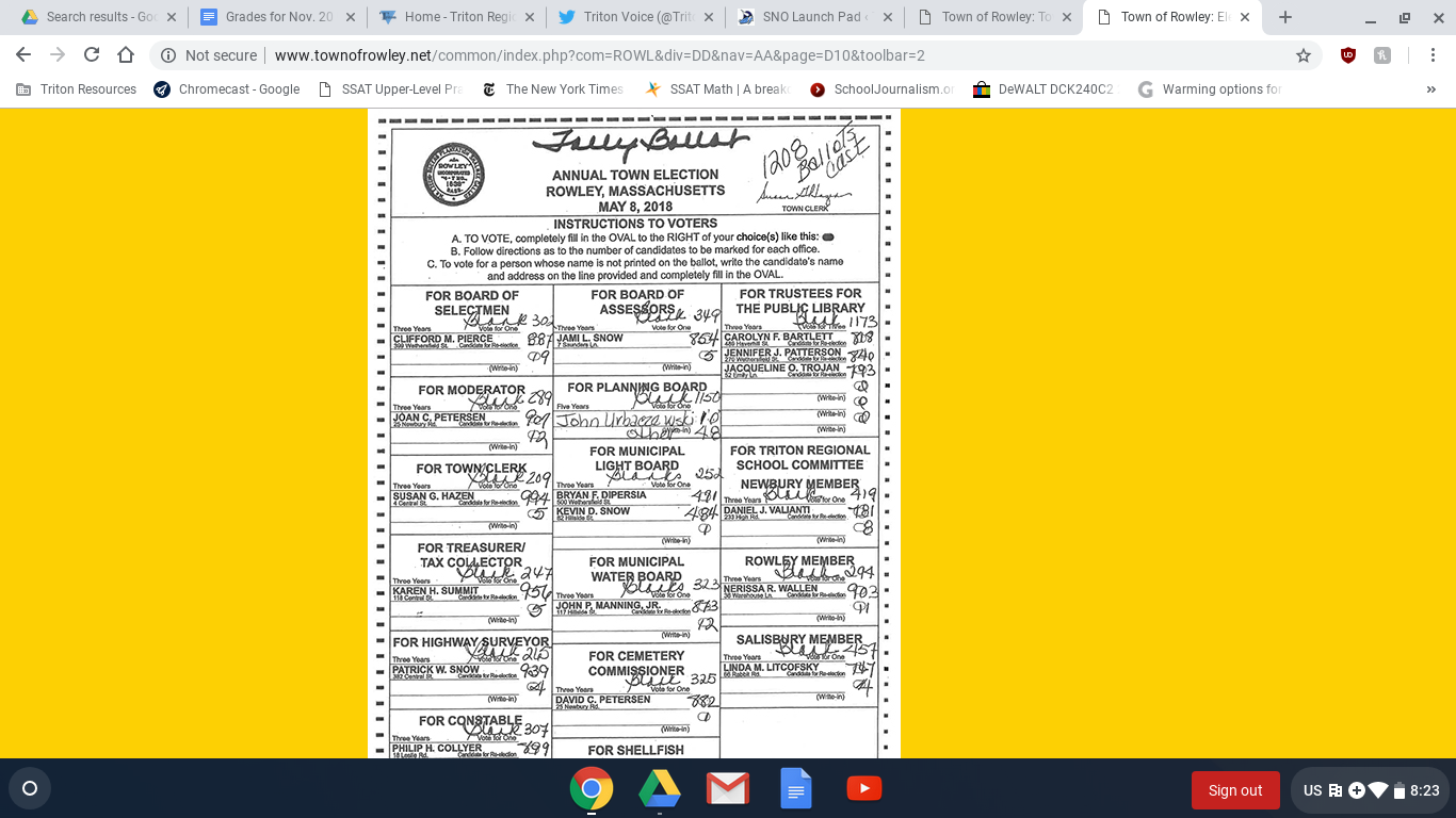 Rowley's sample ballot