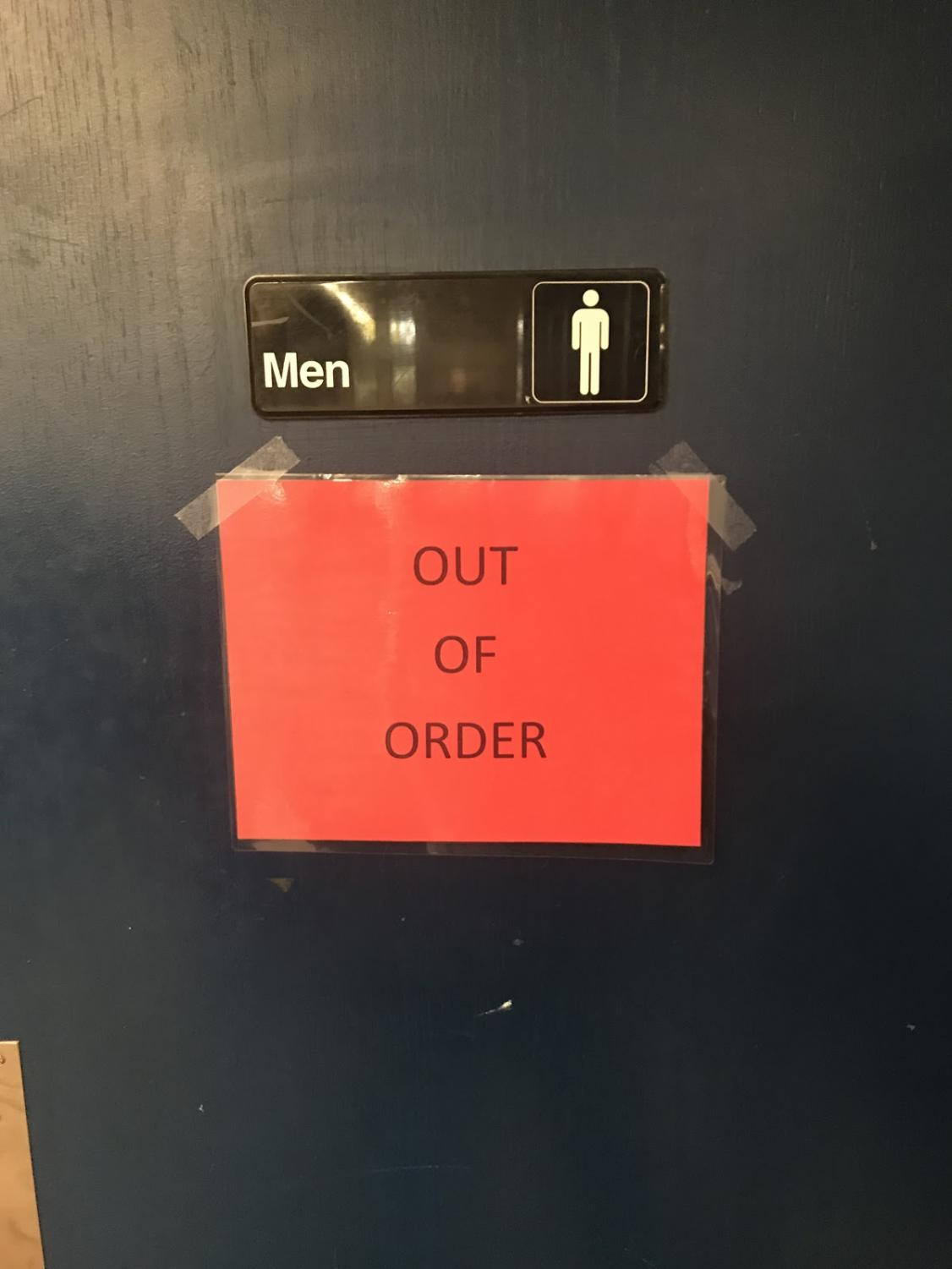 The bathroom in the library has been shut down for over a month.