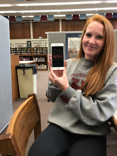 Junior Erin Power watches Netflix on her phone at least once daily.