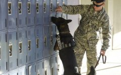 A soldier searches a set of lockers.