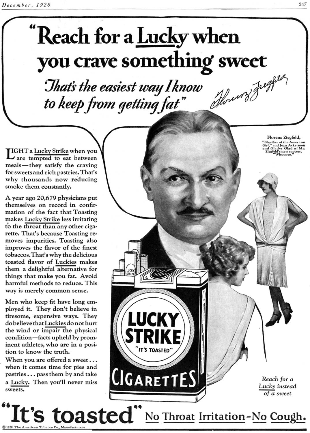 A Lucky Strike cigarette dieting ad that claims that cigarettes will curb sweet cravings