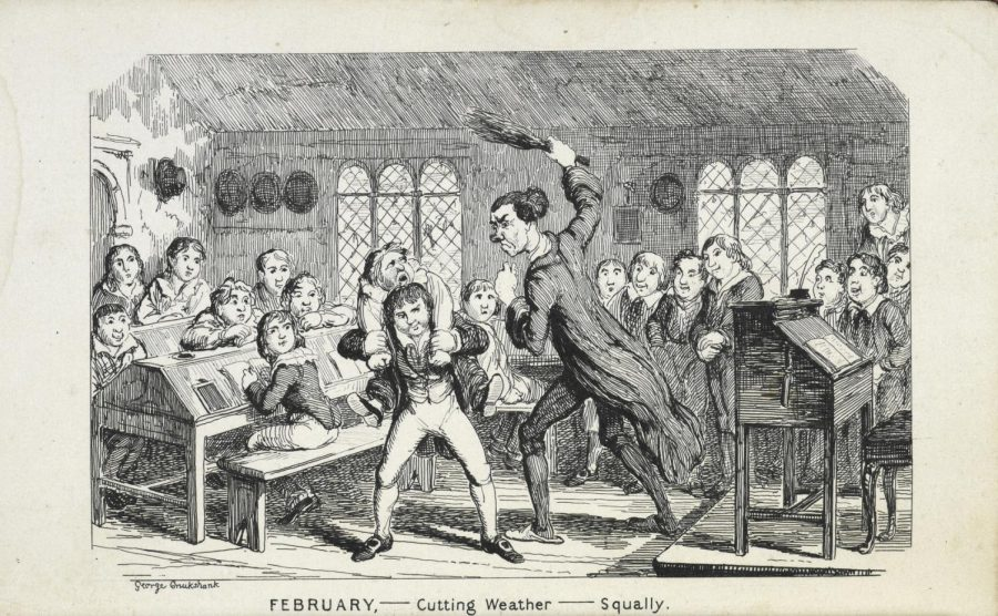 A teacher punishes a student for misbehaving.