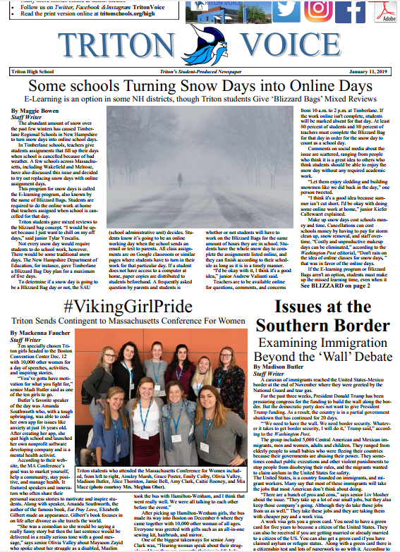 Front page of Triton Voice for 1/11/19