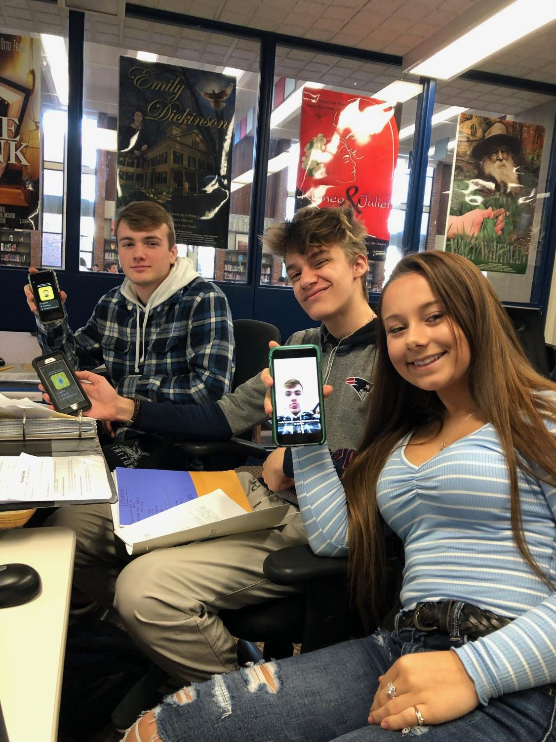 Sophia Agrella, Kiefer Callewaert, and Connor Kohan using Snapchat