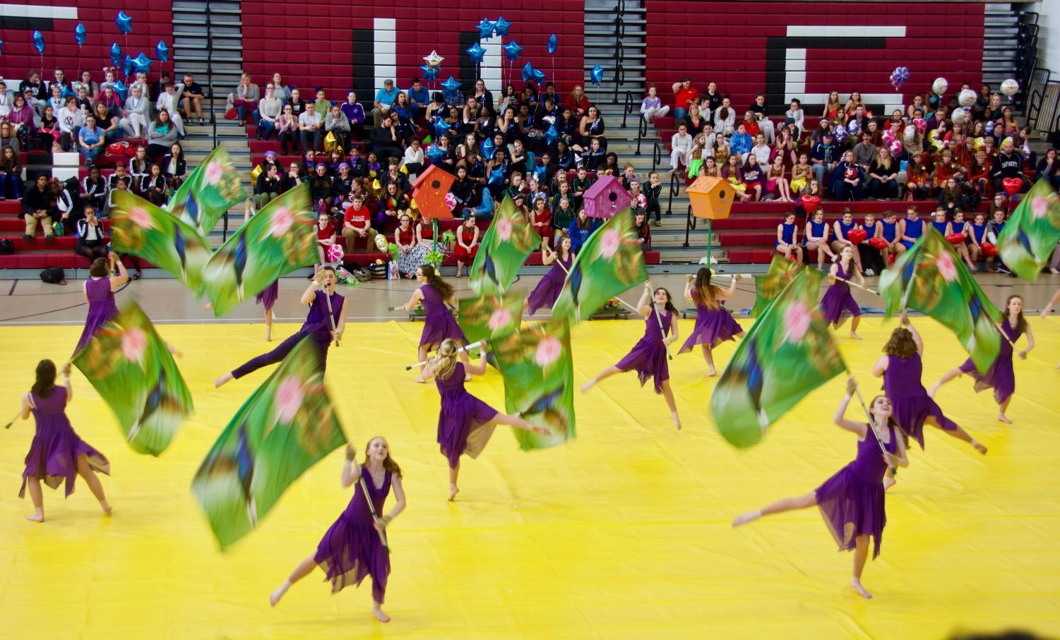 The Triton Winter Guard performs the feature hold in their 2018 show Hummingbird
