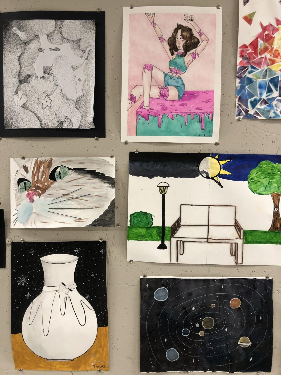 Recent student work is on display in the art room. Come check it out!