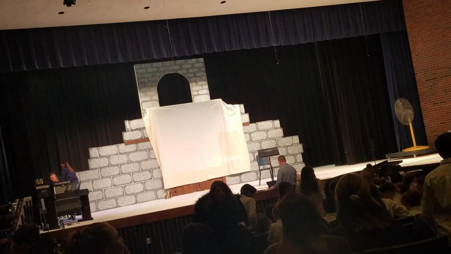 The screen for karaoke was placed in 'Spamalot's' castle themed set.