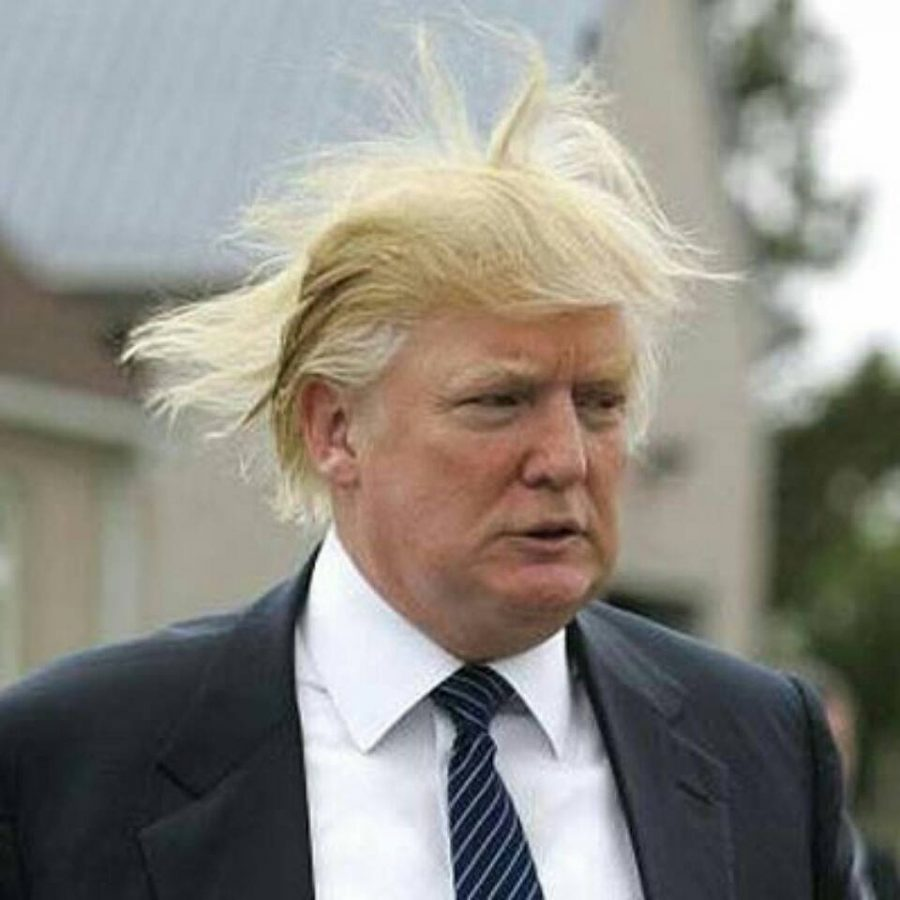 Trump's hair in a recent photo appears under the spell of a witch