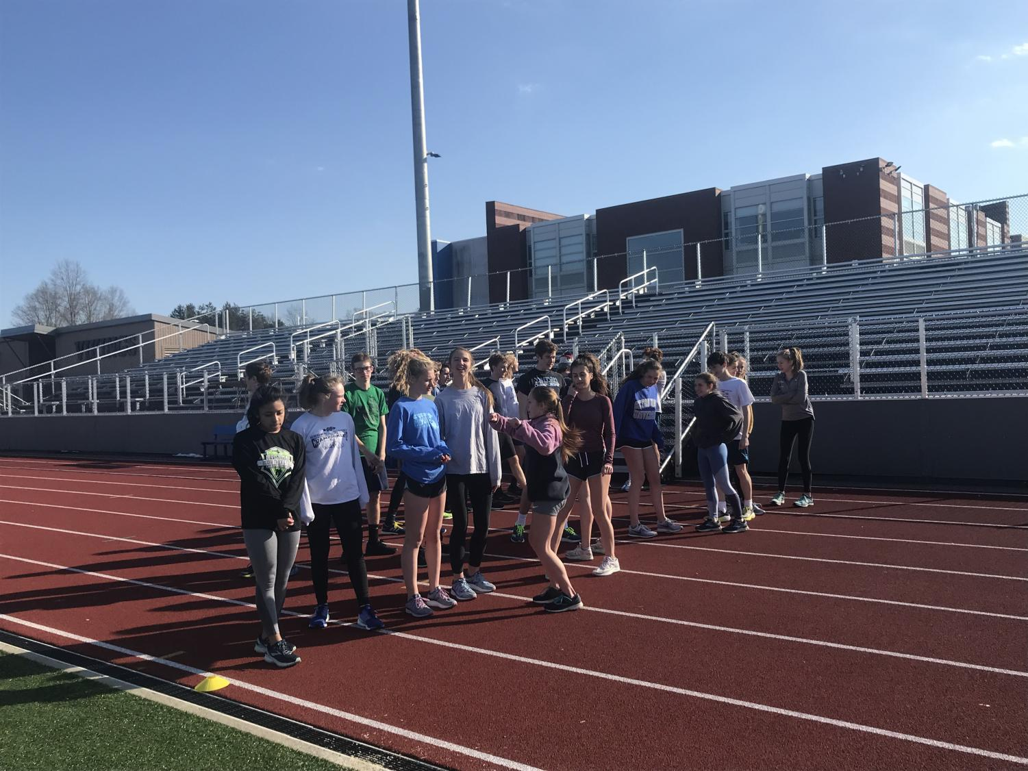 Triton's distance runners hard at work out on the track.