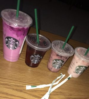 Four out of the five types of Starbucks refreshers