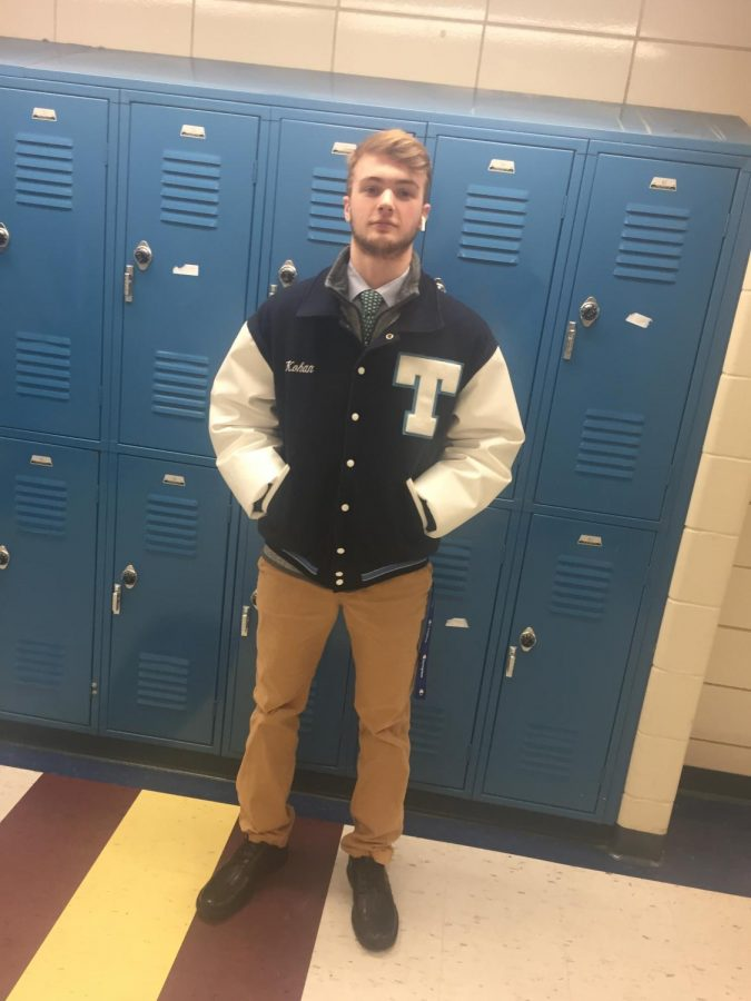 Triton junior Connor Kohan in his Letterman representing the hockey team before the big quarter-final game against Masco