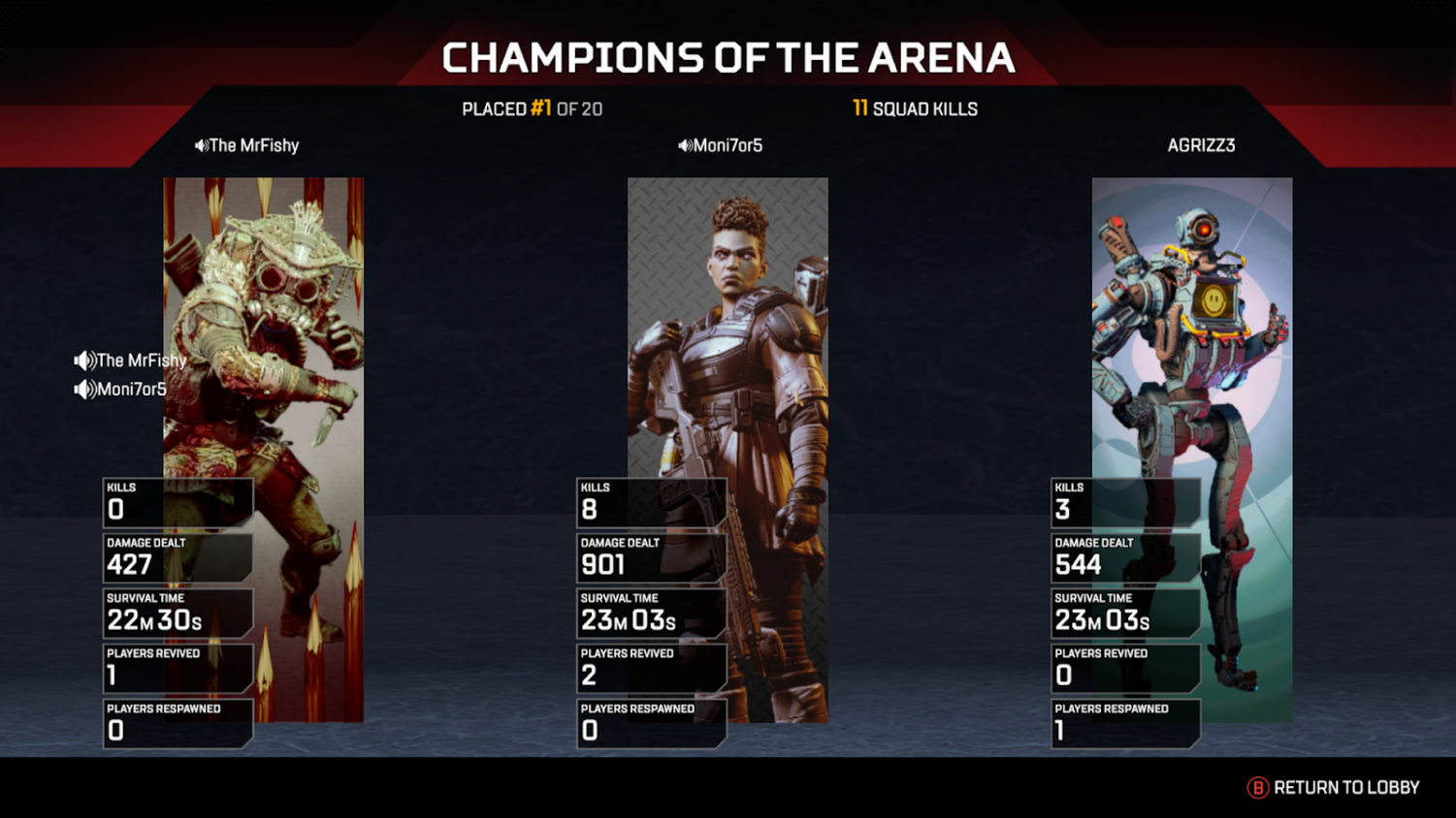 The screen displayed when you win a game of Apex Legends.