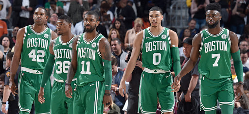 The 2019 Boston Celtics (pictured left to right: Al Horford, Marcus Smart, Kyrie Irving, Jayson Tatum, and Jaylen Brown)