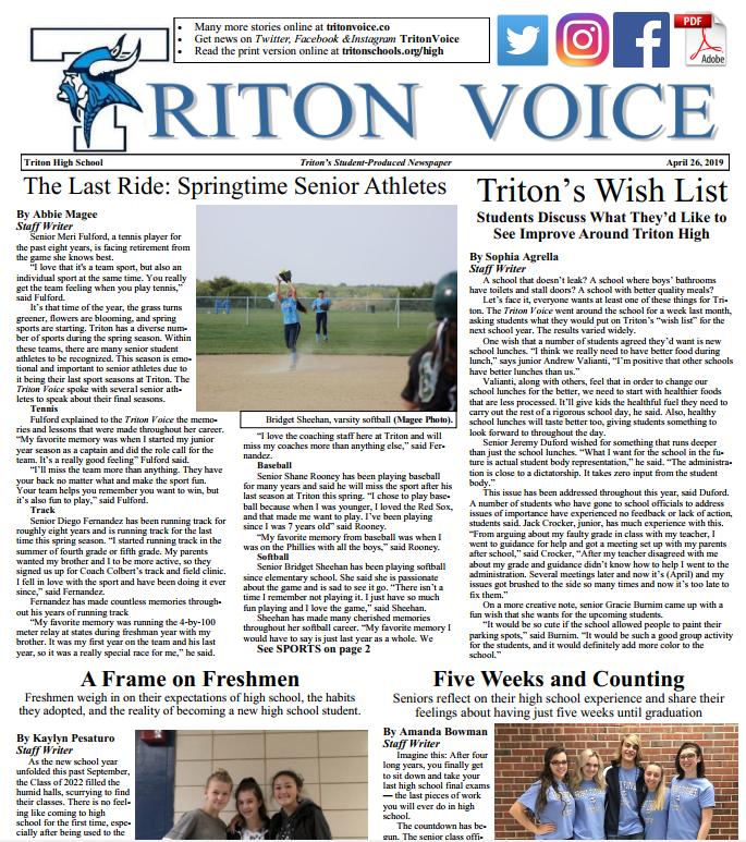 April 26 Edition of the Triton Voice