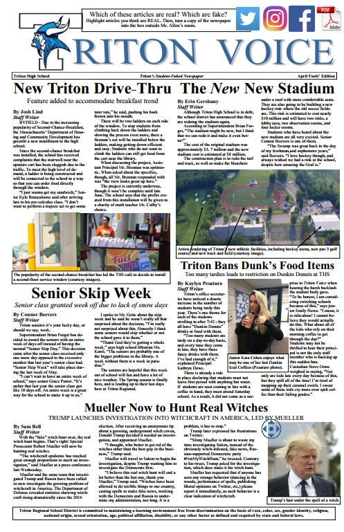 The April 1 Edition of the Triton Voice, Triton's student newspaper