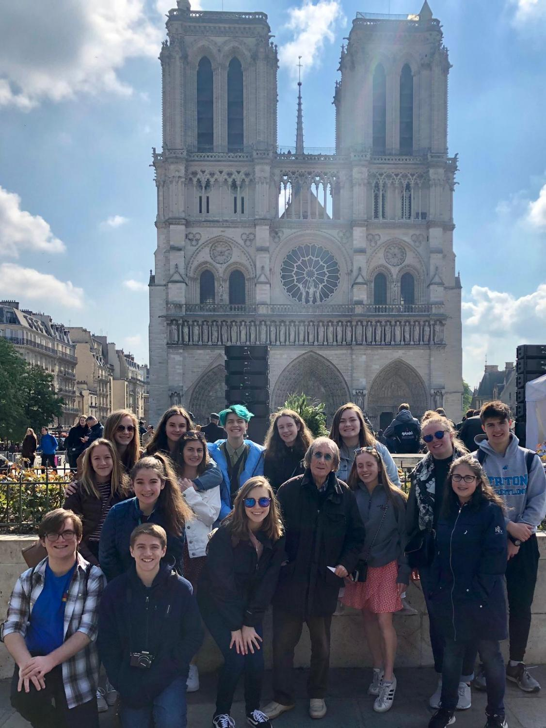 Triton students pose in front of Notre Dame the day before the devastating fire.(Photo courtesy Regina Symonds)