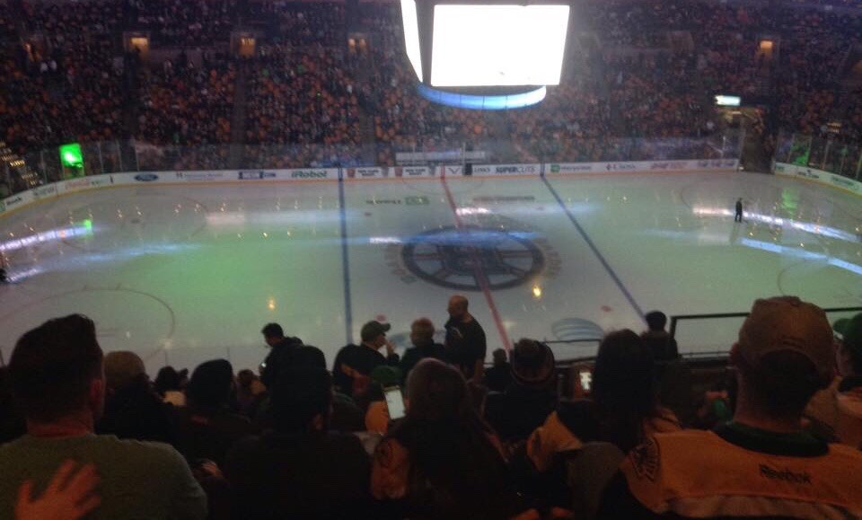 The Bruin's home ice before a regular season game. The Bruins currently are making their way through the NHL Playoffs.