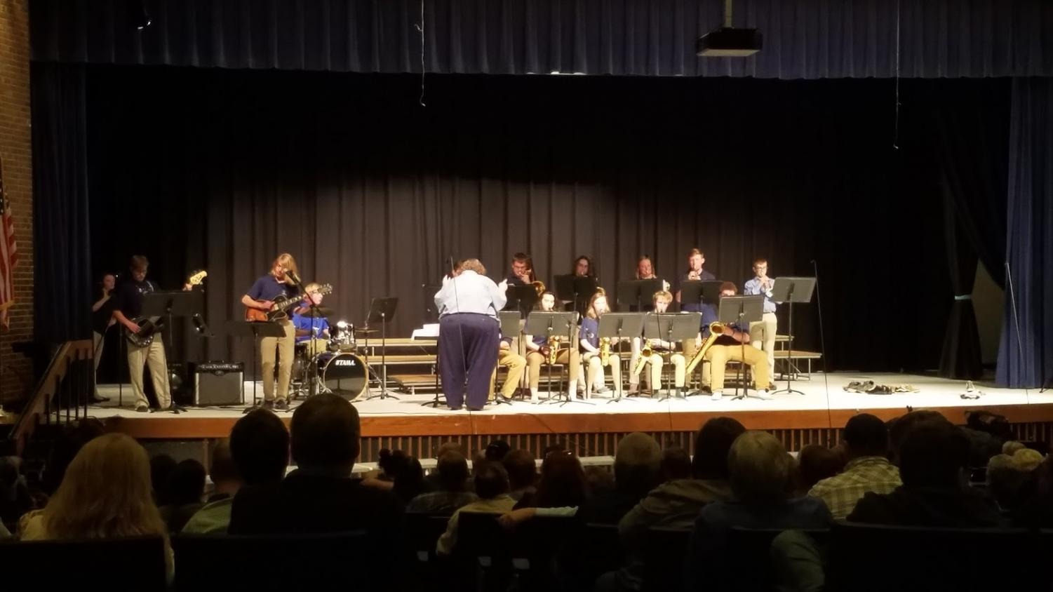 The ever-popular jazz band performing at the spring concert.