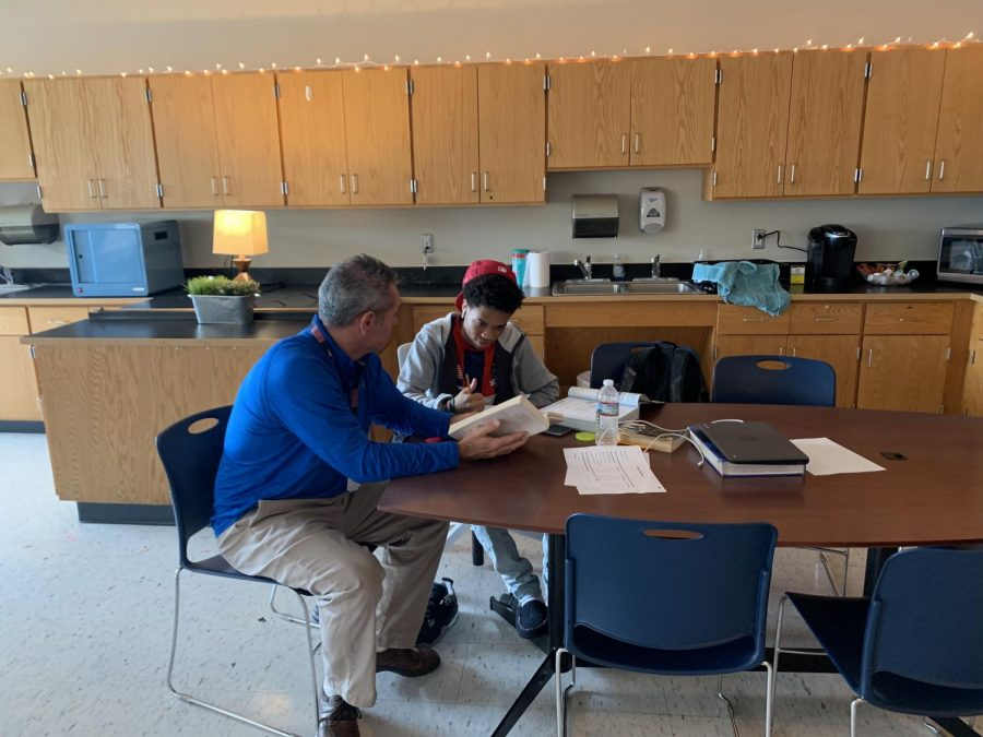 Mr. Victor Fidler works with a Triton student in the new LIFT program.