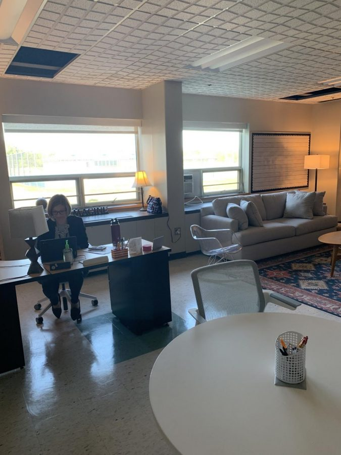 Ms.Karah+Briley+works+at+her+desk+in+the+newly+refurbished+LIFT+room+%28Overbaugh+photo%29.