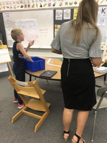 Ms. Donovan helping out a fifth grade student (Christina Varsamis)