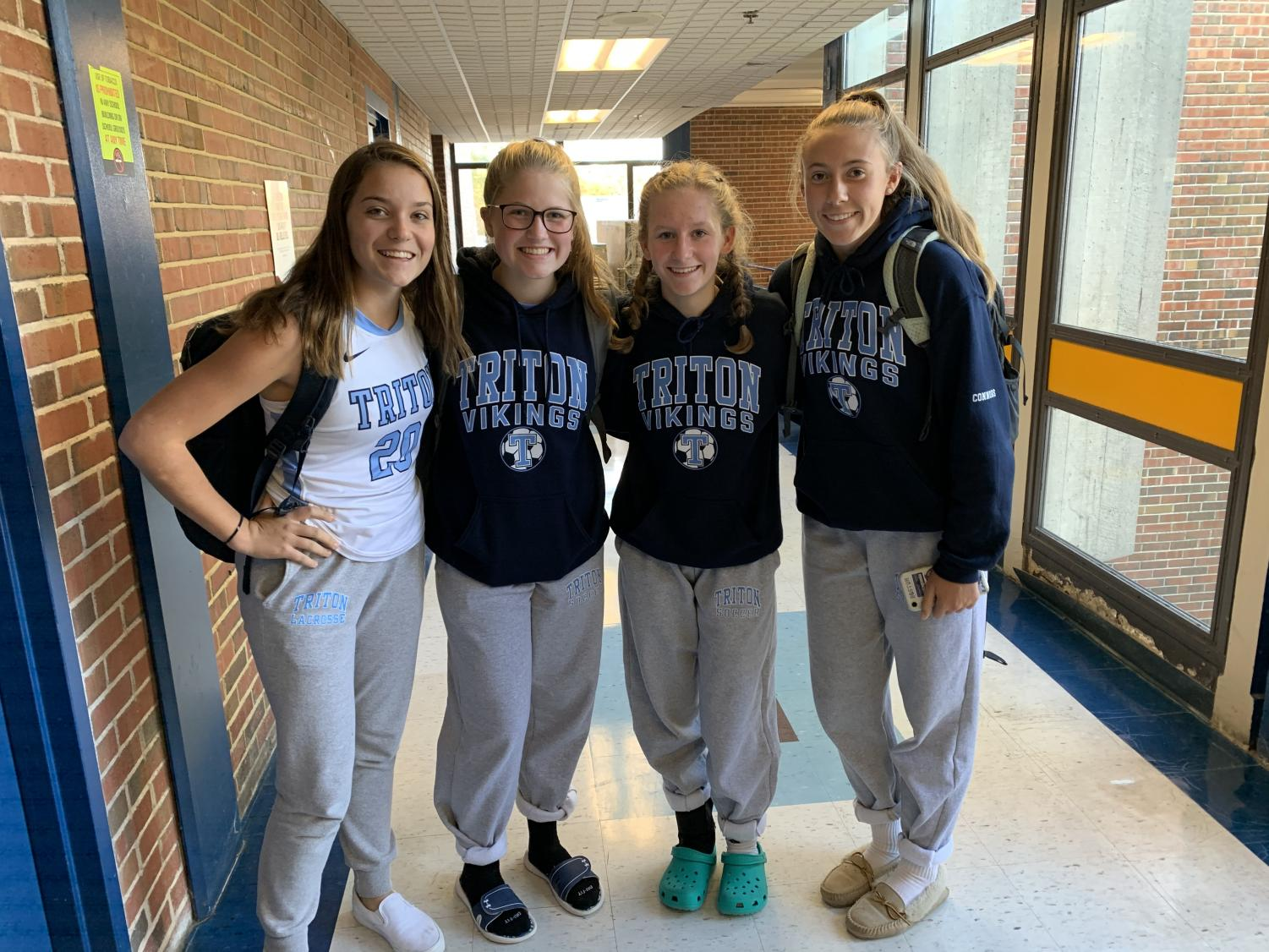 A group of freshmen girls pictured in the hallways of Triton  left to right Ally Pugh, Caitlin Frary, Emma Morland, Chloe Connors (Ernst photo)