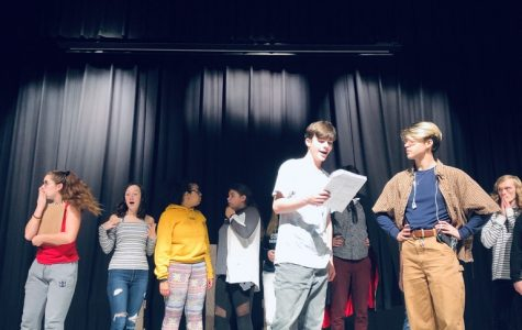 (Photo by Mailhoit) From Left to Right Sammie Mariniello,  Molly Thornton, Shane Parra, Jordan Lavoie, Hunter Scolamiero, Xander Heckman, Charlie Gardner, perform a scene from  Lights! Camera! Murder!