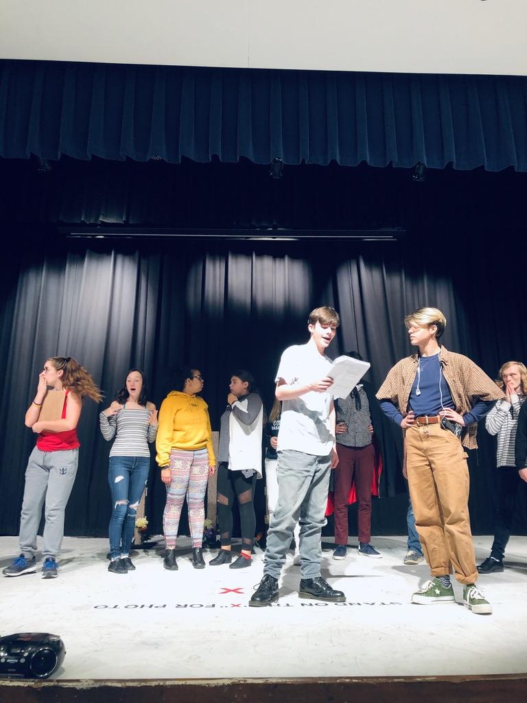 (Mailhoit Photo) From Left to Right Sammie Mariniello,  Molly Thornton, Shane Parra, Jordan Lavoie, Hunter Scolamiero, Xander Heckman, Charlie Gardner, perform a scene from  Lights! Camera! Murder!