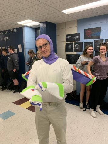 vice principal Scott Brennan dressed as buzz lightyear (Ernst photo)