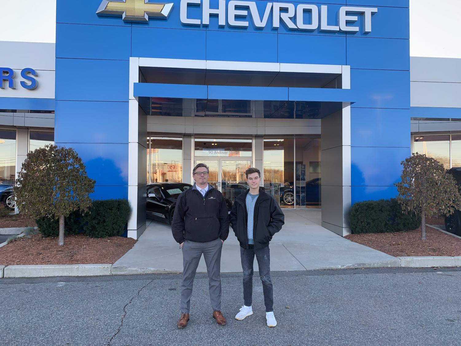 Triton Voice reporter Derek Cotter(right) with Matt Waldo(left), the service director of Herb Chambers Chevrolet of Danvers