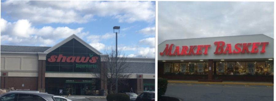The front entrances of both supermarkets for Shaws and Market Basket