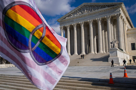 A Peace Flags waves in front of the US Supreme Court building in Washington DC