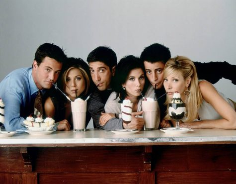 From left to right: Chandler, Rachel, Ross, Monica, Joey, and Phoebe.