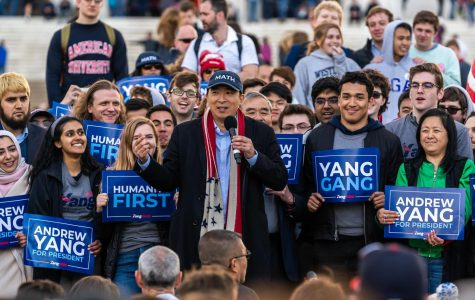 Andrew Yang speaks during a rally held on the steps of the Lincoln Memorial in Washington D.C.