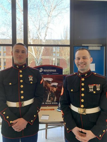Marines visit Triton during lunch to talk to students about future plans and what the Marines could offer them.