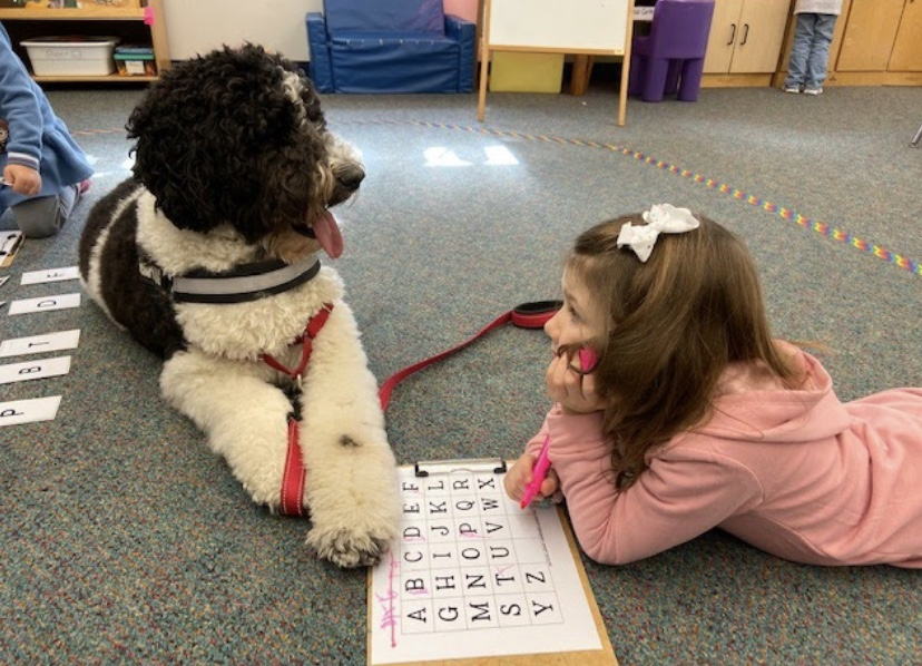 A Salisbury Elementary School student pictured with Murphy the therapy dog in the classroom