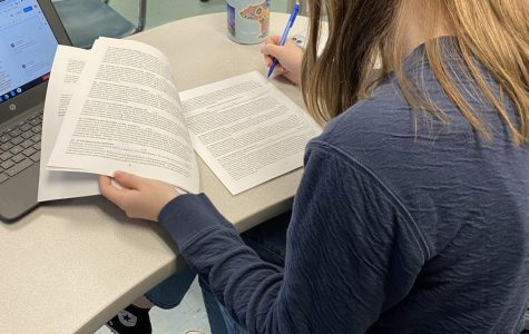 Here student Julia Casaletto is looking through the new course selections offered next year.