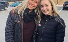 Kaylyn Pesaturo and her mom after voting on Super Tuesday