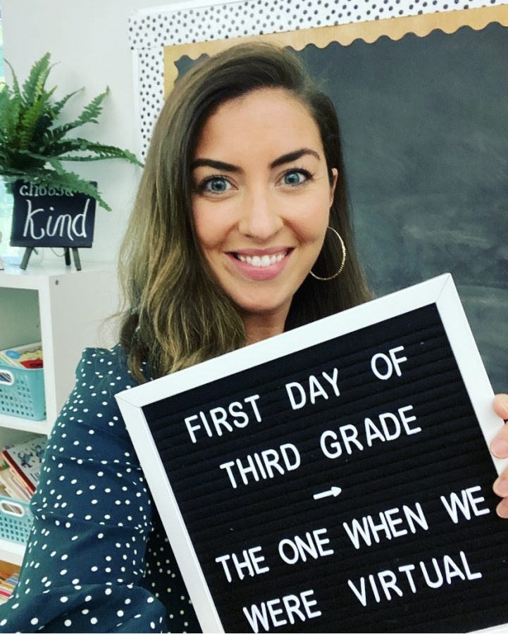 Sarah Decoteau poses in her classroom during her first day in the district