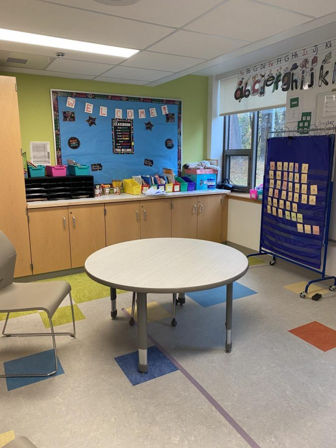 Olivia Joyal's classroom is set up and ready for her in-person students during instruction