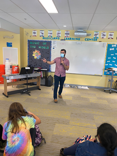 Mr. Atherton teaches on a recent day at his alma mater, Pine Grove Elementary School.